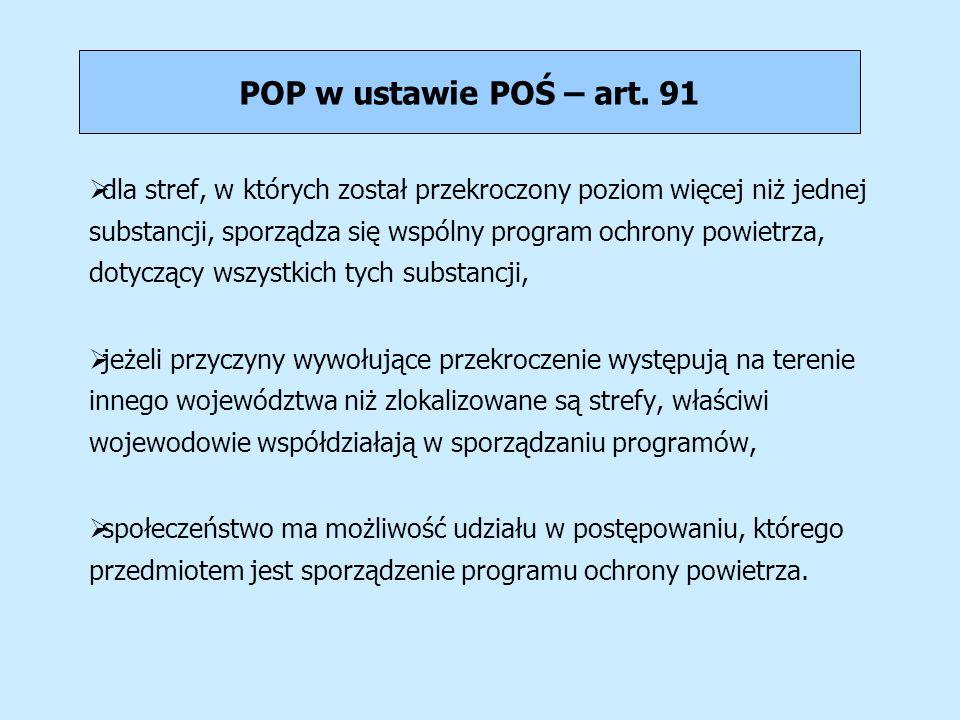 POP w ustawie POŚ – art. 91 dla stref, w których został przekroczony poziom więcej niż jednej substancji, sporządza się wspólny program ochrony powiet