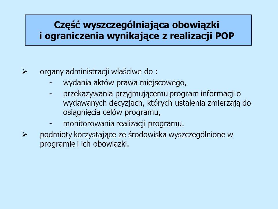 Część wyszczególniająca obowiązki i ograniczenia wynikające z realizacji POP organy administracji właściwe do : -wydania aktów prawa miejscowego, -prz