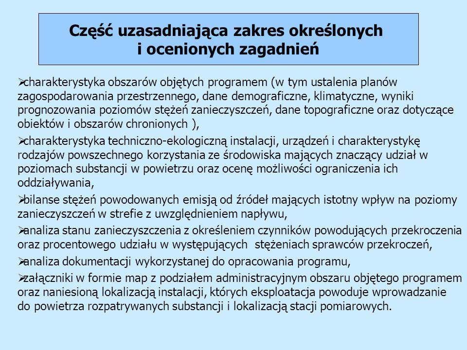 Część uzasadniająca zakres określonych i ocenionych zagadnień charakterystyka obszarów objętych programem (w tym ustalenia planów zagospodarowania prz