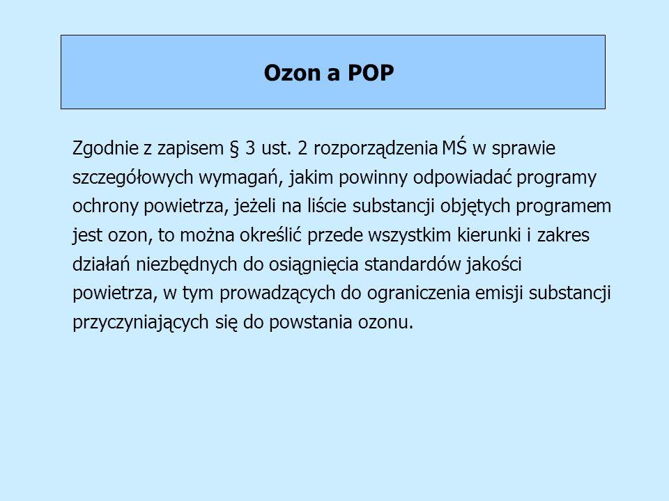 Ozon a POP Zgodnie z zapisem § 3 ust. 2 rozporządzenia MŚ w sprawie szczegółowych wymagań, jakim powinny odpowiadać programy ochrony powietrza, jeżeli