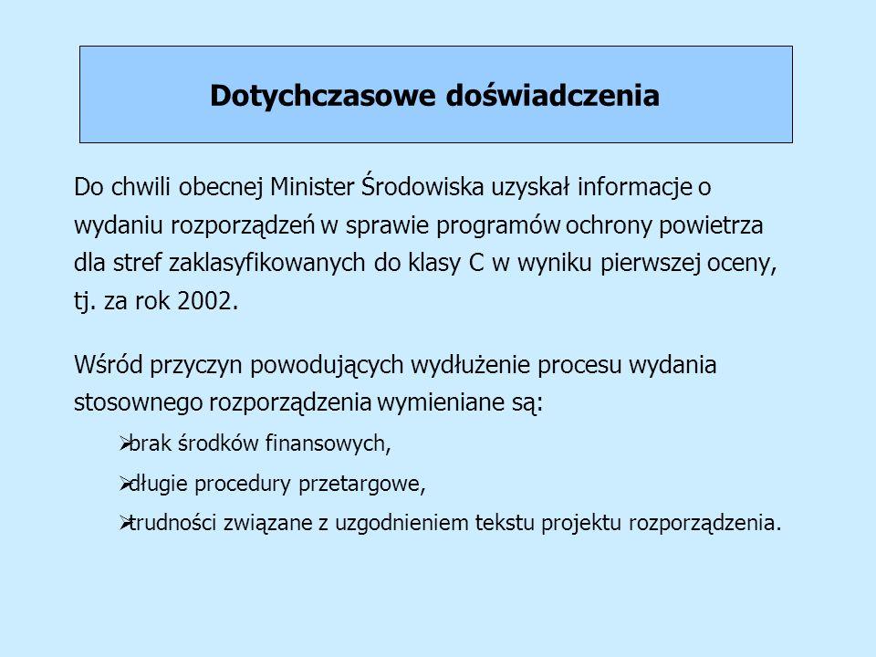 Dotychczasowe doświadczenia Do chwili obecnej Minister Środowiska uzyskał informacje o wydaniu rozporządzeń w sprawie programów ochrony powietrza dla