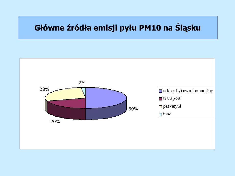 Główne źródła emisji pyłu PM10 na Śląsku
