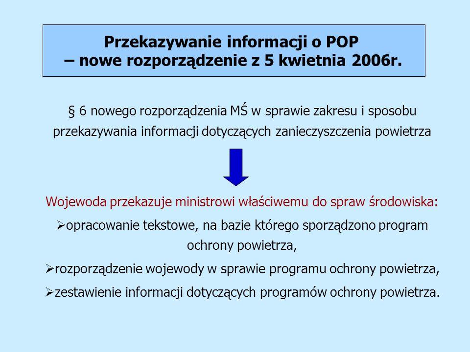 Przekazywanie informacji o POP – nowe rozporządzenie z 5 kwietnia 2006r. § 6 nowego rozporządzenia MŚ w sprawie zakresu i sposobu przekazywania inform