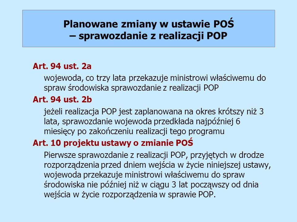 Planowane zmiany w ustawie POŚ – sprawozdanie z realizacji POP Art. 94 ust. 2a wojewoda, co trzy lata przekazuje ministrowi właściwemu do spraw środow