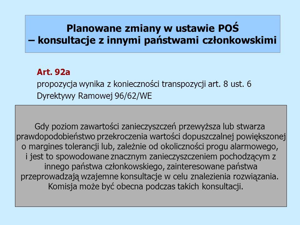 Planowane zmiany w ustawie POŚ – konsultacje z innymi państwami członkowskimi Art. 92a propozycja wynika z konieczności transpozycji art. 8 ust. 6 Dyr