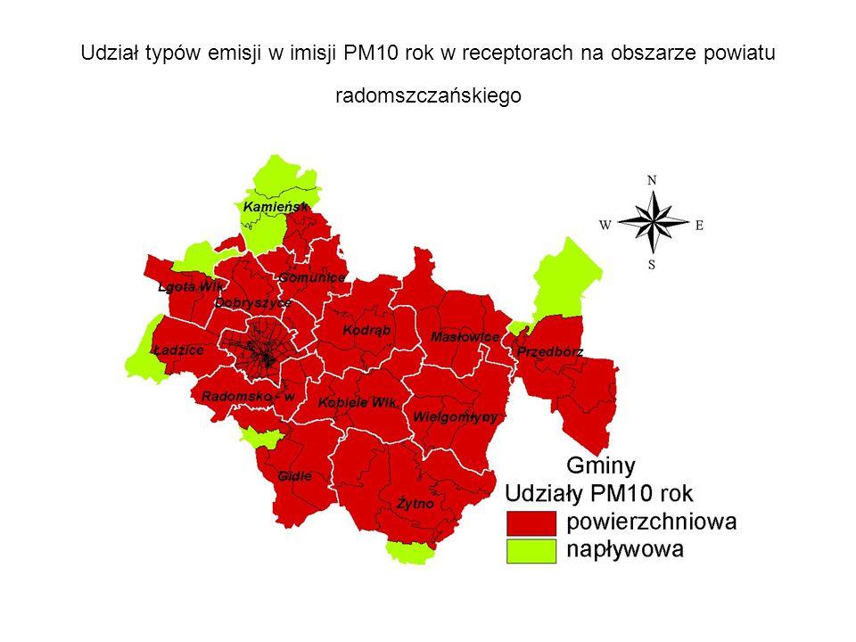 Udział typów emisji w imisji PM10 rok w receptorach na obszarze powiatu radomszczańskiego