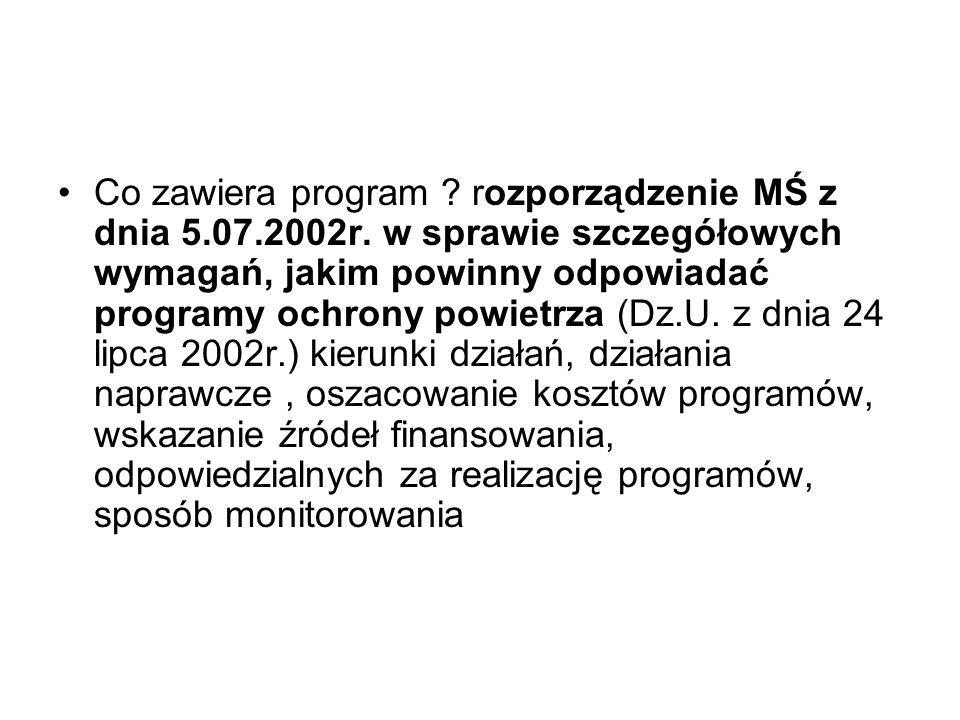Co zawiera program . rozporządzenie MŚ z dnia 5.07.2002r.