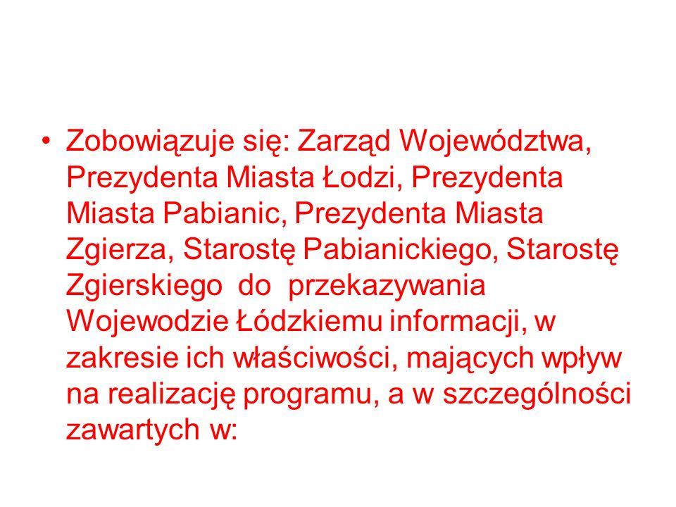 Zobowiązuje się: Zarząd Województwa, Prezydenta Miasta Łodzi, Prezydenta Miasta Pabianic, Prezydenta Miasta Zgierza, Starostę Pabianickiego, Starostę Zgierskiego do przekazywania Wojewodzie Łódzkiemu informacji, w zakresie ich właściwości, mających wpływ na realizację programu, a w szczególności zawartych w: