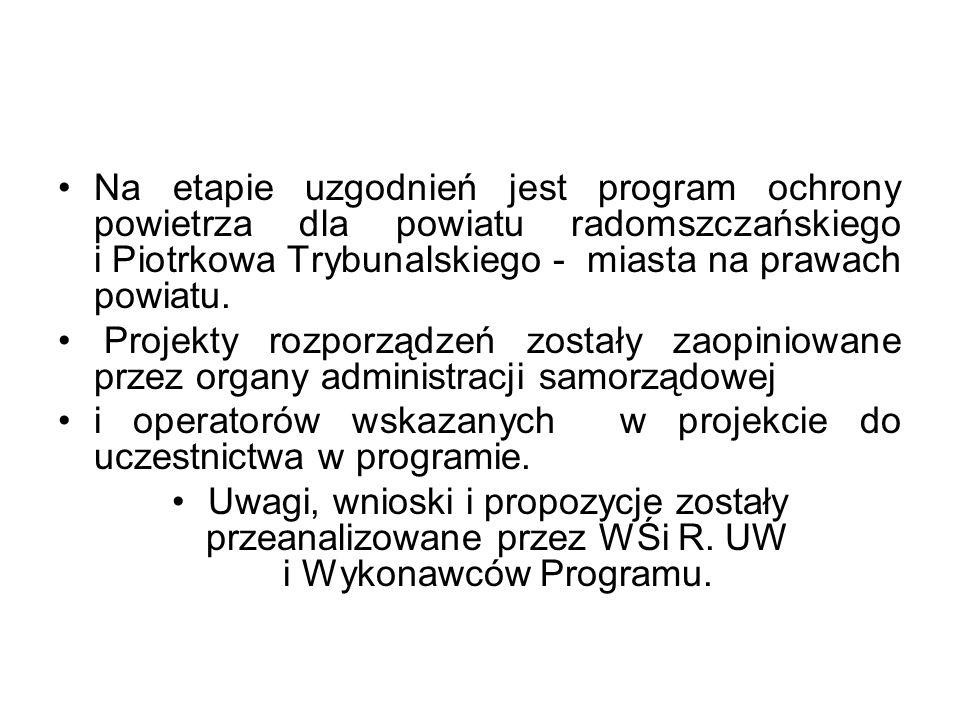 Na etapie uzgodnień jest program ochrony powietrza dla powiatu radomszczańskiego i Piotrkowa Trybunalskiego - miasta na prawach powiatu.