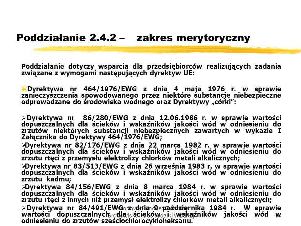 Narodowy Fundusz Ochrony Środowiska i Gospodarki Wodnej15 Poddziałanie 2.4.2 –zakres merytoryczny Dyrektywa nr 271/1991/WE z dnia 21 maja 1991 r.