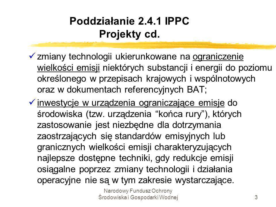 Narodowy Fundusz Ochrony Środowiska i Gospodarki Wodnej4 Poddziałanie 2.4.1 IPPC Kryteria wyboru projektów Kryteria wyboru projektów zKryteria formalne i techniczno-ekonomiczne (kryteria dostępu) zKryteria merytoryczne (kryteria wyboru)