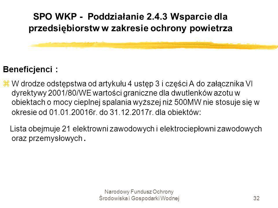 Narodowy Fundusz Ochrony Środowiska i Gospodarki Wodnej33 SPO WKP - Poddziałanie 2.4.3 Wsparcie dla przedsiębiorstw w zakresie ochrony powietrza Beneficjenci : Lista 21 elektrowni zawodowych i elektrociepłowni zawodowych oraz przemysłowych posiadających derogacje w zakresie dwutlenków azotu z1.