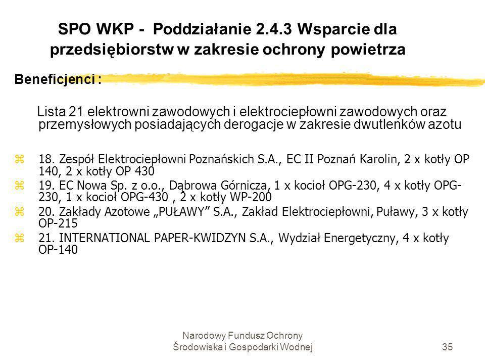 Narodowy Fundusz Ochrony Środowiska i Gospodarki Wodnej36 SPO WKP - Poddziałanie 2.4.3 Wsparcie dla przedsiębiorstw w zakresie ochrony powietrza Beneficjenci : zW drodze odstępstwa od artykułu 4 ustęp 3 i części A do załącznika VII dyrektywy 2001/80/WE wartości granicznych emisji pyłów nie stosuje się w ciepłowniach komunalnych się w okresie od 01.01.2008r.