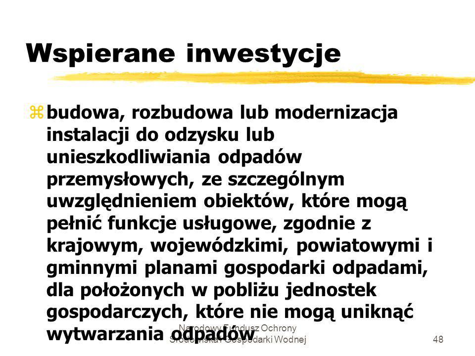 Narodowy Fundusz Ochrony Środowiska i Gospodarki Wodnej49 Wspierane inwestycje c.d.