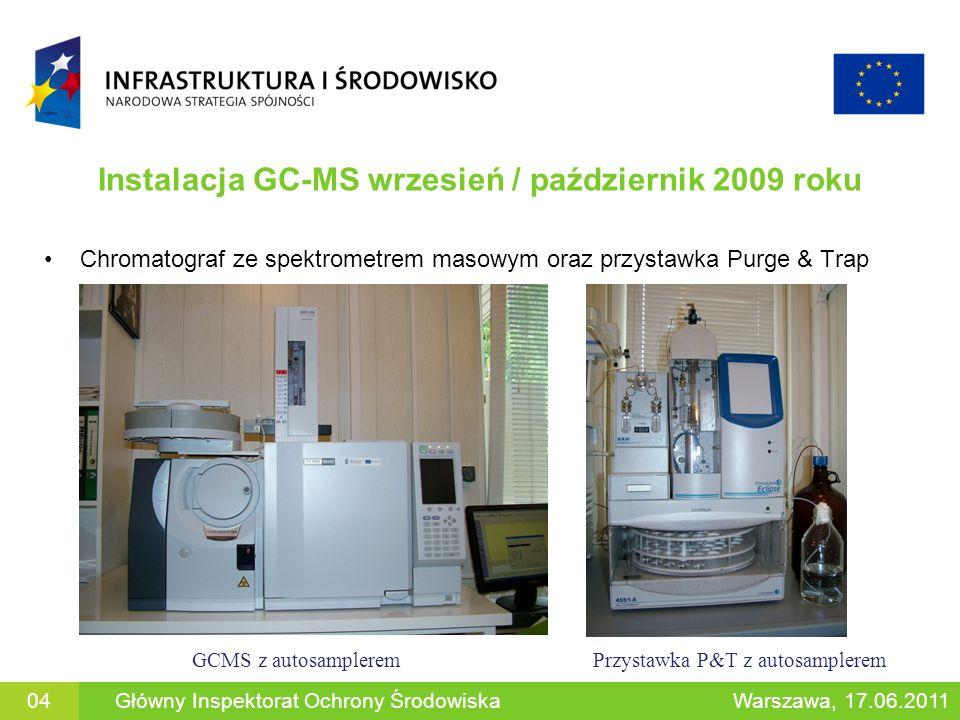 Instalacja GC-MS wrzesień / październik 2009 roku Chromatograf ze spektrometrem masowym oraz przystawka Purge & Trap 04Główny Inspektorat Ochrony Środ