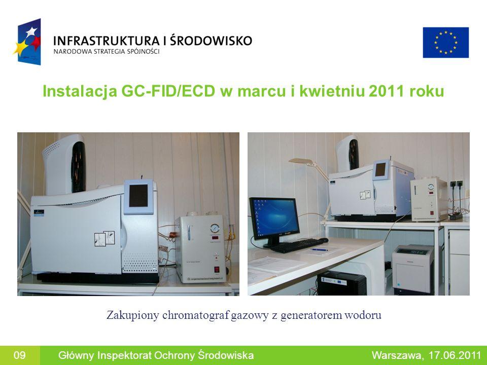 Instalacja GC-FID/ECD w marcu i kwietniu 2011 roku 09Główny Inspektorat Ochrony ŚrodowiskaWarszawa, 17.06.2011 Zakupiony chromatograf gazowy z generat