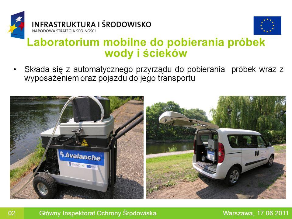Laboratorium mobilne do pobierania próbek wody i ścieków Składa się z automatycznego przyrządu do pobierania próbek wraz z wyposażeniem oraz pojazdu do jego transportu Główny Inspektorat Ochrony ŚrodowiskaWarszawa, 17.06.201102