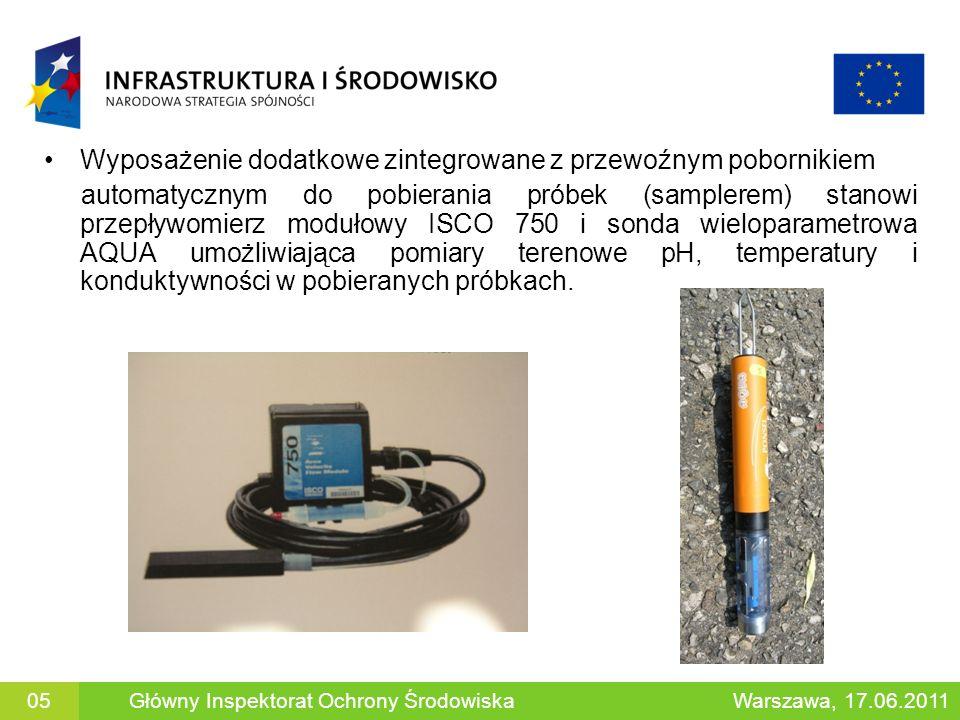 Wyposażenie dodatkowe zintegrowane z przewoźnym pobornikiem automatycznym do pobierania próbek (samplerem) stanowi przepływomierz modułowy ISCO 750 i sonda wieloparametrowa AQUA umożliwiająca pomiary terenowe pH, temperatury i konduktywności w pobieranych próbkach.
