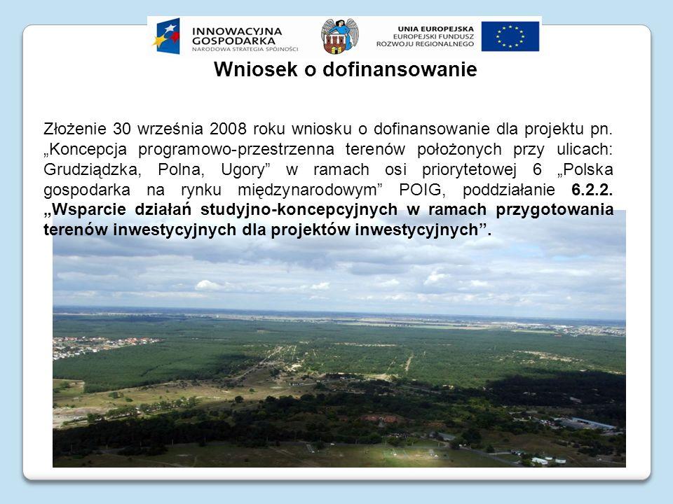 Wniosek o dofinansowanie Złożenie 30 września 2008 roku wniosku o dofinansowanie dla projektu pn. Koncepcja programowo-przestrzenna terenów położonych