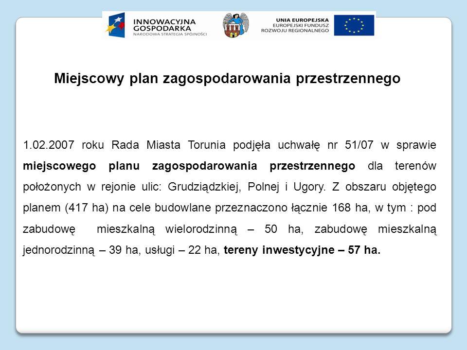 Miejscowy plan zagospodarowania przestrzennego 1.02.2007 roku Rada Miasta Torunia podjęła uchwałę nr 51/07 w sprawie miejscowego planu zagospodarowani