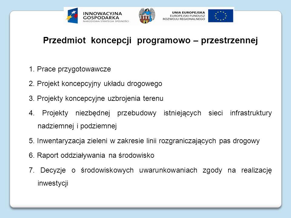 Przedmiot koncepcji programowo – przestrzennej 1. Prace przygotowawcze 2. Projekt koncepcyjny układu drogowego 3. Projekty koncepcyjne uzbrojenia tere