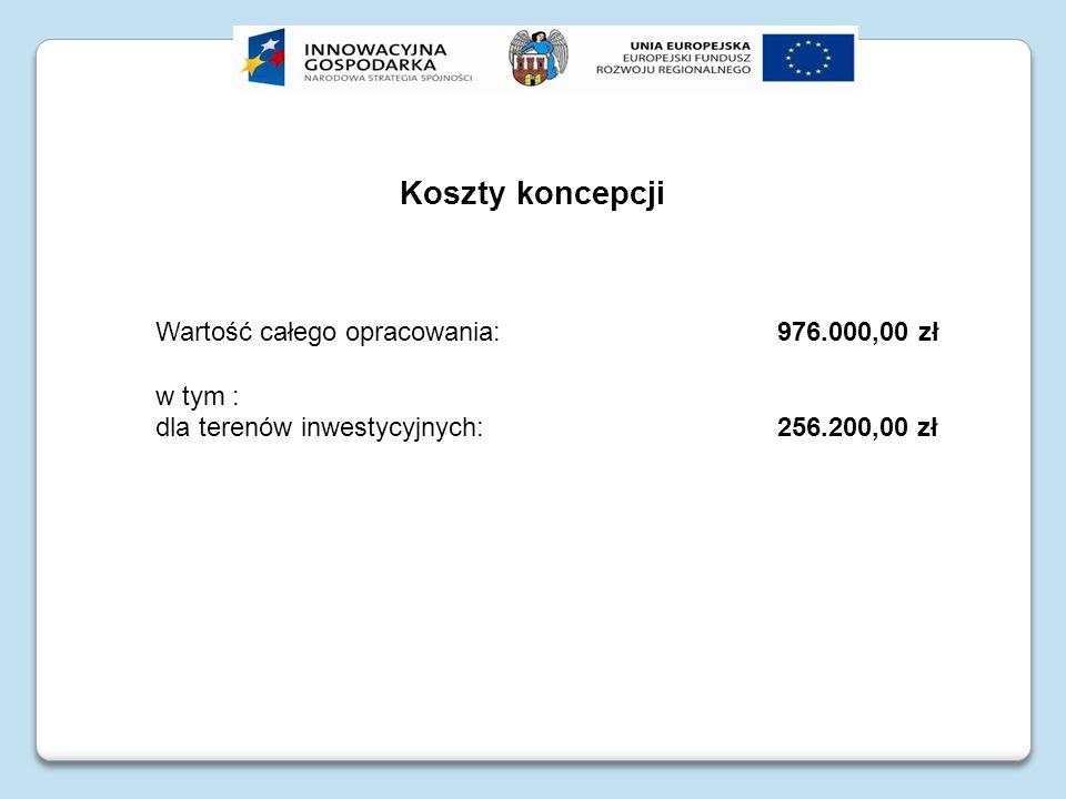 Koszty koncepcji Wartość całego opracowania: 976.000,00 zł w tym : dla terenów inwestycyjnych: 256.200,00 zł