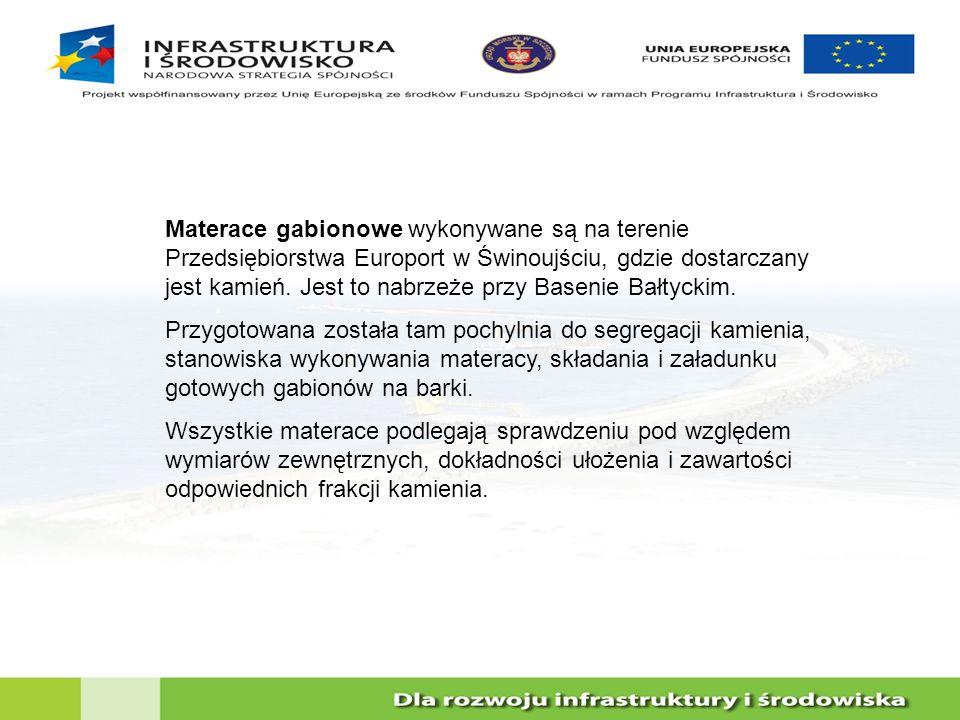 Materace gabionowe wykonywane są na terenie Przedsiębiorstwa Europort w Świnoujściu, gdzie dostarczany jest kamień. Jest to nabrzeże przy Basenie Bałt