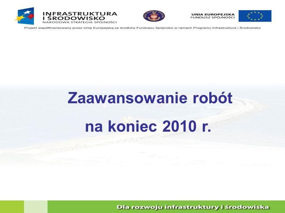 Zaawansowanie robót na koniec 2010 r.