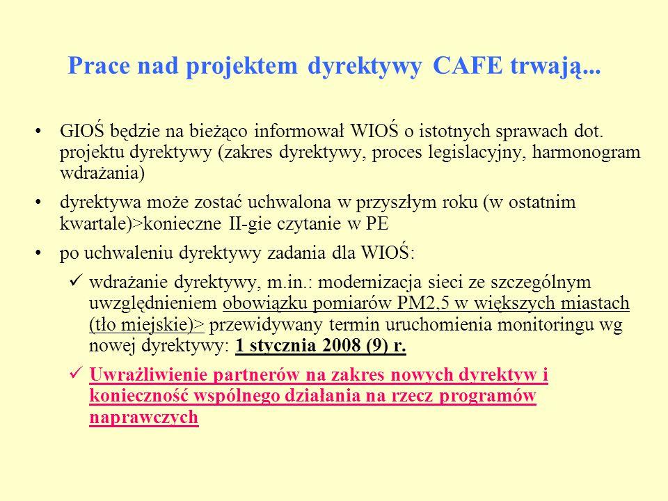 Prace nad projektem dyrektywy CAFE trwają... GIOŚ będzie na bieżąco informował WIOŚ o istotnych sprawach dot. projektu dyrektywy (zakres dyrektywy, pr