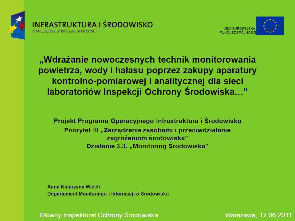 Podstawowe dane o projekcie Beneficjent-koordynator: Główny Inspektorat Ochrony Środowiska Użytkownicy końcowi: Wojewódzkie Inspektoraty Ochrony Środowiska Całkowita wartość projektu: 45 426 946 zł Wartość dofinansowania z EFRR/FS: 38 612 904 zł Okres realizacji projektu: 2008 – 2011 Preumowa podpisana w dniu 28.07.2008r.