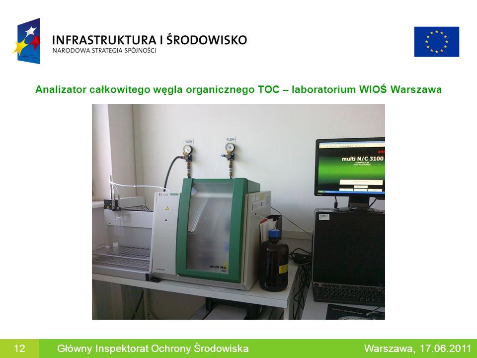 Analizator całkowitego węgla organicznego TOC – laboratorium WIOŚ Warszawa 12Główny Inspektorat Ochrony ŚrodowiskaWarszawa, 17.06.2011