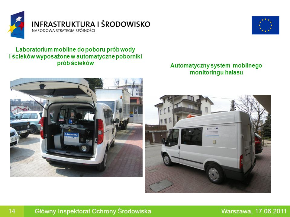 14Główny Inspektorat Ochrony Środowiska Laboratorium mobilne do poboru prób wody i ścieków wyposażone w automatyczne poborniki prób ścieków Automatycz