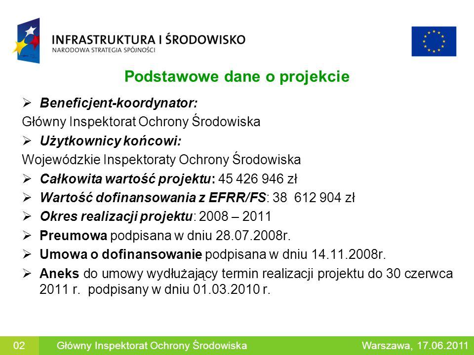 Podstawowe dane o projekcie Beneficjent-koordynator: Główny Inspektorat Ochrony Środowiska Użytkownicy końcowi: Wojewódzkie Inspektoraty Ochrony Środo