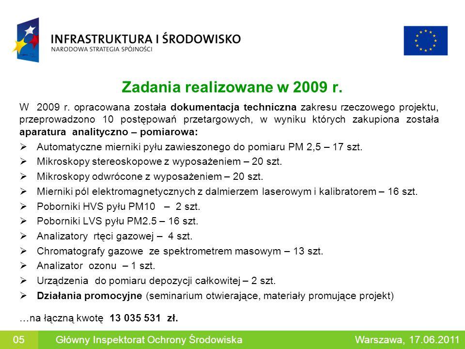 Zadania realizowane w 2009 r. W 2009 r. opracowana została dokumentacja techniczna zakresu rzeczowego projektu, przeprowadzono 10 postępowań przetargo