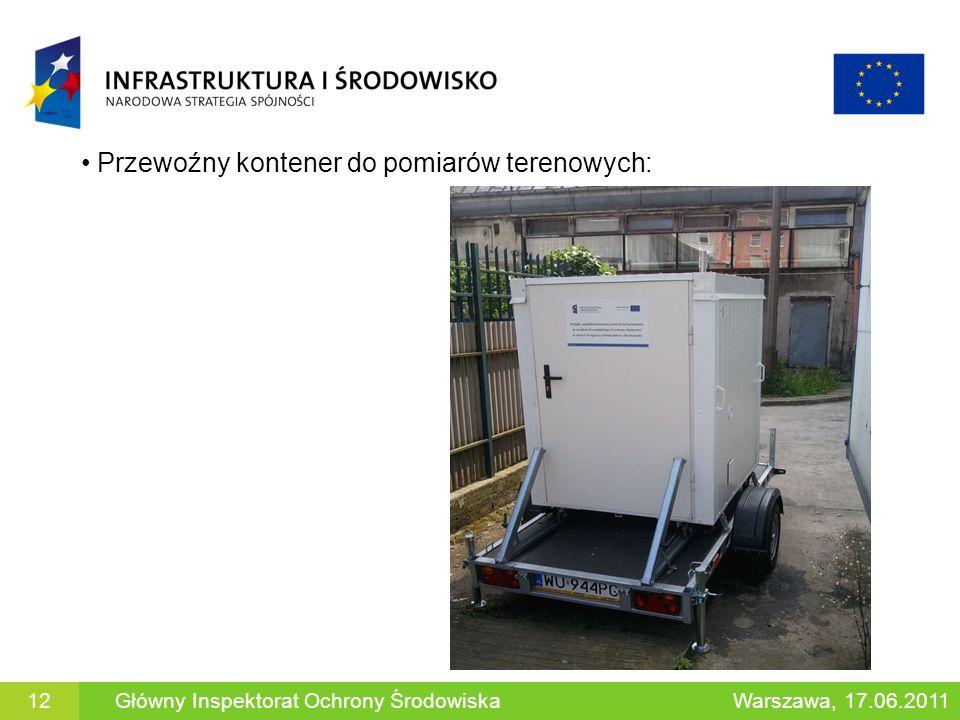 Przewoźny kontener do pomiarów terenowych: Główny Inspektorat Ochrony ŚrodowiskaWarszawa, 17.06.201112