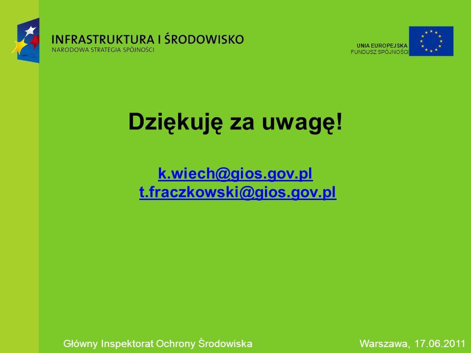 Dziękuję za uwagę! k.wiech@gios.gov.pl t.fraczkowski@gios.gov.pl k.wiech@gios.gov.plt.fraczkowski@gios.gov.pl Główny Inspektorat Ochrony ŚrodowiskaWar