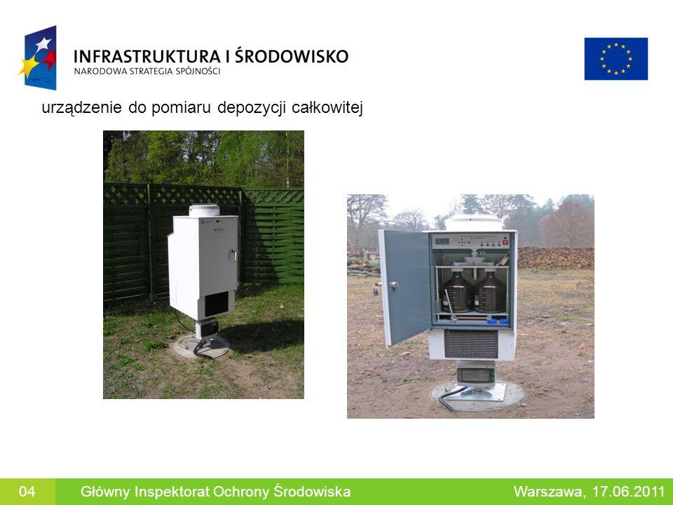 Główny Inspektorat Ochrony ŚrodowiskaWarszawa, 17.06.201104 urządzenie do pomiaru depozycji całkowitej