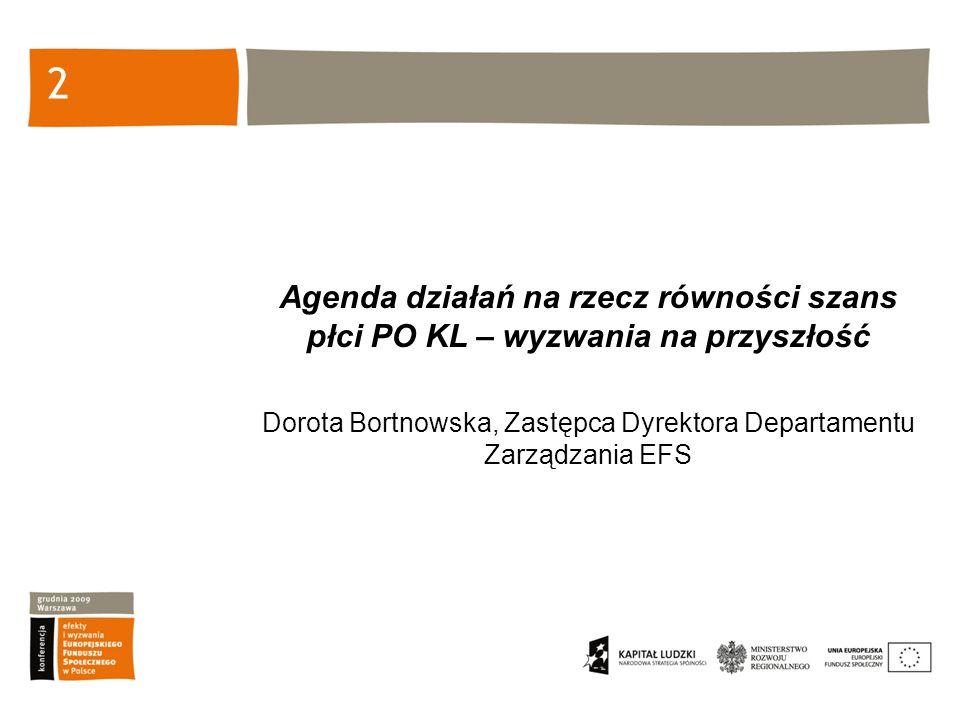2 Agenda działań na rzecz równości szans płci PO KL – wyzwania na przyszłość Dorota Bortnowska, Zastępca Dyrektora Departamentu Zarządzania EFS