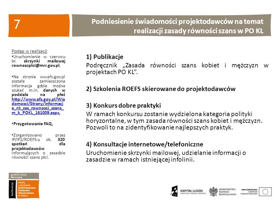 Podniesienie świadomości projektodawców na temat realizacji zasady równości szans w PO KL 7 Postęp w realizacji Uruchomienie w czerwcu br.