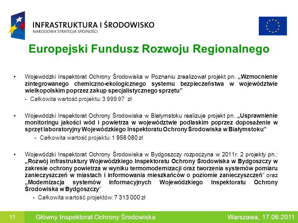 Europejski Fundusz Rozwoju Regionalnego Wojewódzki Inspektorat Ochrony Środowiska w Poznaniu zrealizował projekt pn. Wzmocnienie zintegrowanego chemic