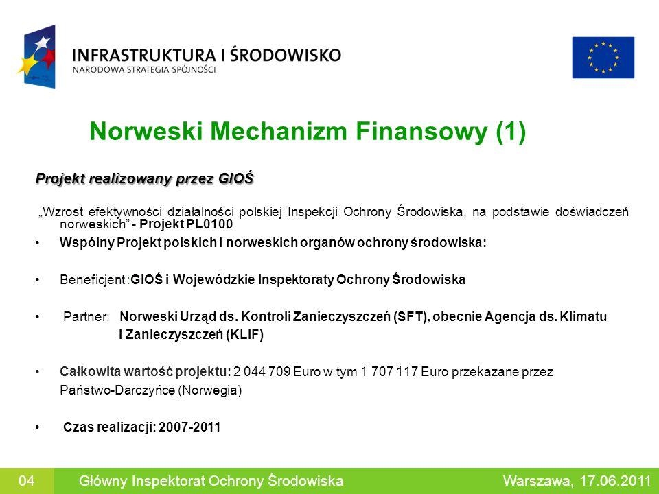 Norweski Mechanizm Finansowy (2) Projekty realizowane przez WIOŚ Projekty prowadzone przez WIOŚ mają na celu : - poprawę skuteczności w egzekwowaniu przestrzegania prawa - rozszerzenie zakresu i wdrożenie nowych metodyk wykonywania badań i pomiarów - zapewnienie realizacji wymogów dyrektyw unijnych - wzmocnienie kontroli i wykorzystywania zasobów wodnych Projekty wykorzystujące ten mechanizm finansowania są lub były realizowane miedzy innymi przez WIOŚ w Szczecinie, Warszawie, Białymstoku, Poznaniu, Łodzi, Krakowie i Gdańsku 05Główny Inspektorat Ochrony ŚrodowiskaWarszawa, 17.06.2011