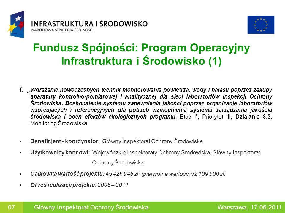Fundusz Spójności: Program Operacyjny Infrastruktura i Środowisko (1). I. Wdrażanie nowoczesnych technik monitorowania powietrza, wody i hałasu poprze