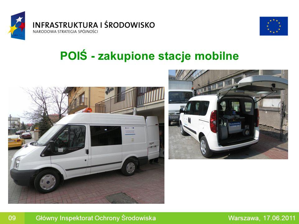 POIŚ - zakupione stacje mobilne 09Główny Inspektorat Ochrony ŚrodowiskaWarszawa, 17.06.2011