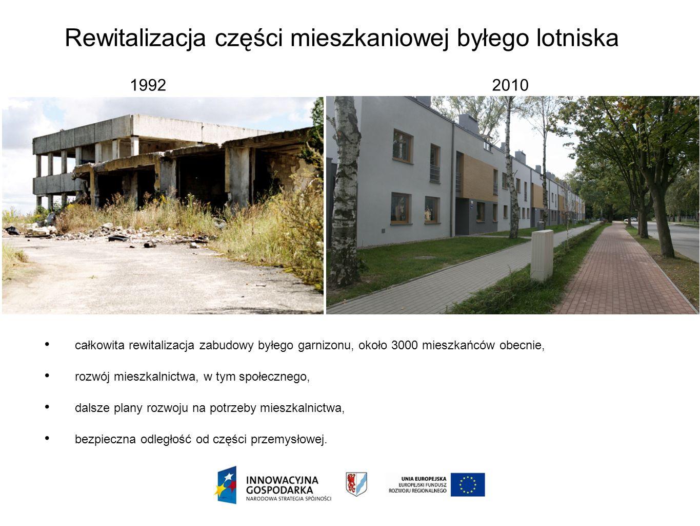 Rewitalizacja części mieszkaniowej byłego lotniska 1992 2010 całkowita rewitalizacja zabudowy byłego garnizonu, około 3000 mieszkańców obecnie, rozwój