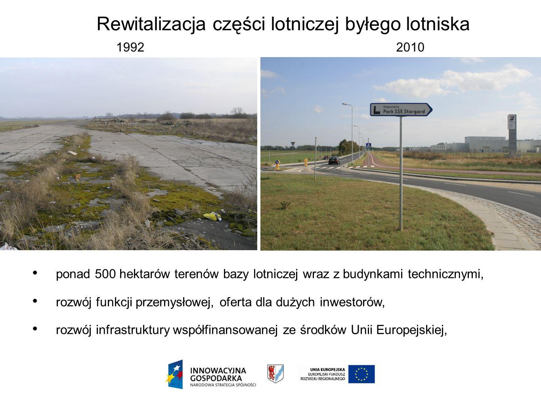 Rewitalizacja części lotniczej byłego lotniska 1992 2010 ponad 500 hektarów terenów bazy lotniczej wraz z budynkami technicznymi, rozwój funkcji przem