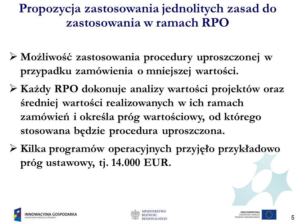 5 Propozycja zastosowania jednolitych zasad do zastosowania w ramach RPO Możliwość zastosowania procedury uproszczonej w przypadku zamówienia o mniejszej wartości.