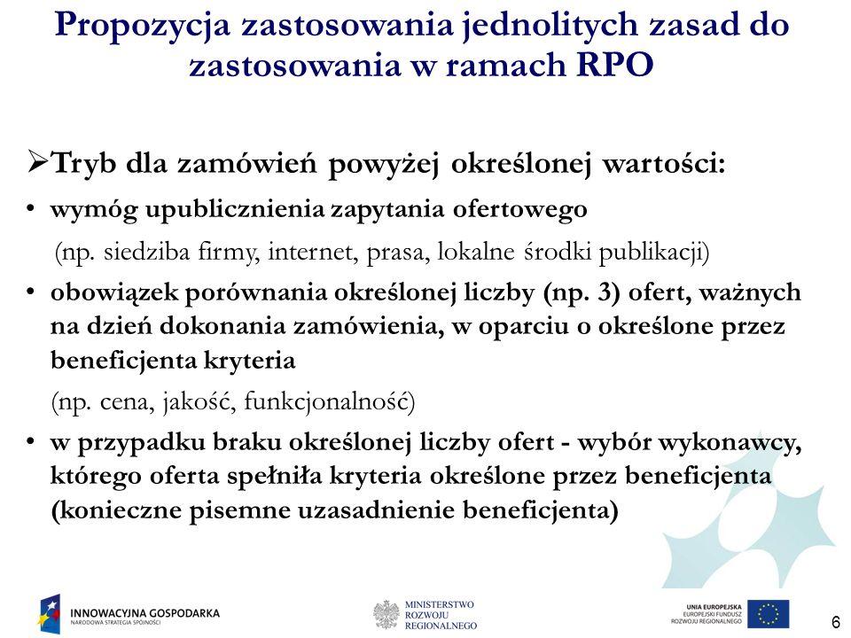 6 Propozycja zastosowania jednolitych zasad do zastosowania w ramach RPO Tryb dla zamówień powyżej określonej wartości: wymóg upublicznienia zapytania ofertowego (np.