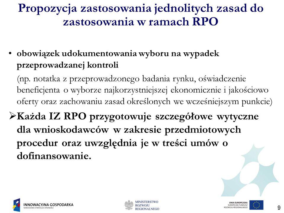 9 Propozycja zastosowania jednolitych zasad do zastosowania w ramach RPO obowiązek udokumentowania wyboru na wypadek przeprowadzanej kontroli (np.