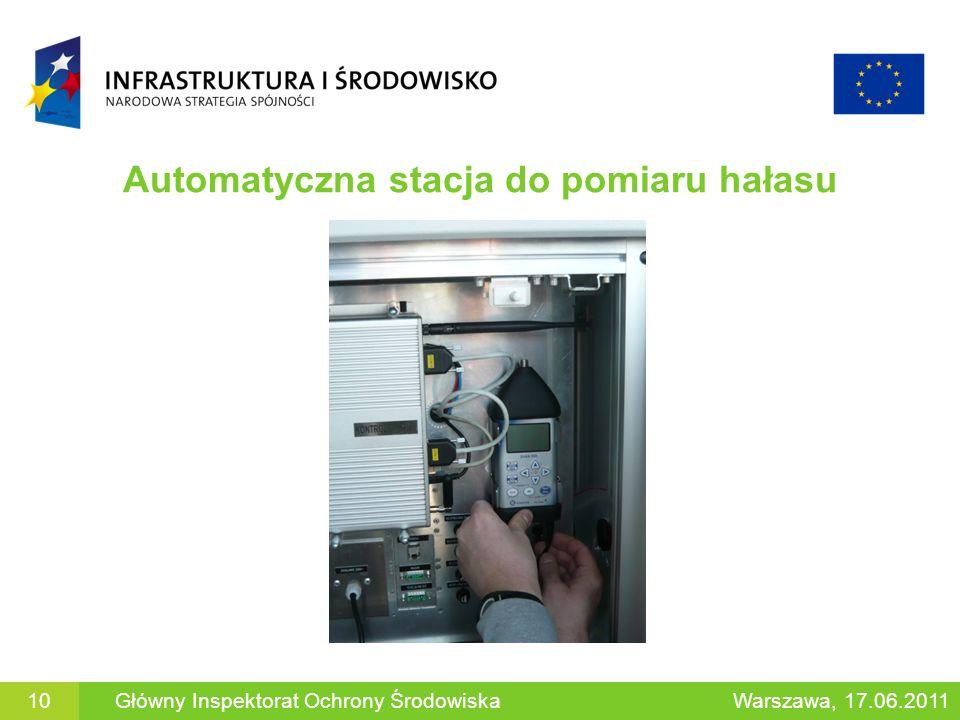 Automatyczna stacja do pomiaru hałasu 10Główny Inspektorat Ochrony ŚrodowiskaWarszawa, 17.06.2011