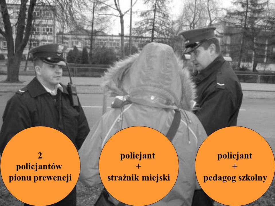 2 policjantów pionu prewencji policjant + strażnik miejski policjant + pedagog szkolny